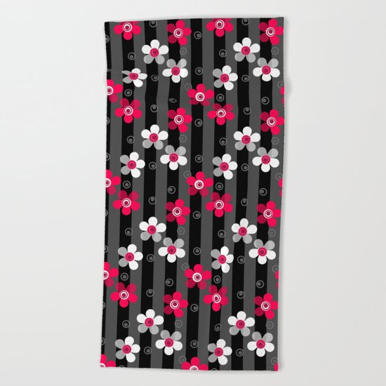 Crimson and white flowers on a black striped background Beach Towel