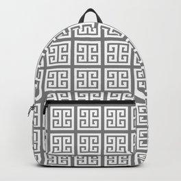 Gray Greek Key Pattern Backpack