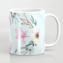 Floral Square Acqua Coffee Mug