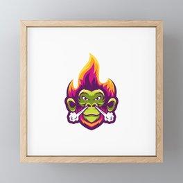 Monkey With Fire Smoke Illustration Awesome Framed Mini Art Print