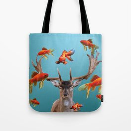 Deer with goldfishes swimming around Tote Bag