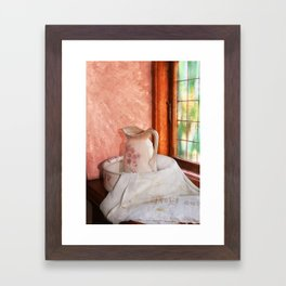 Good morning- vintage pitcher and wash bowl Framed Art Print