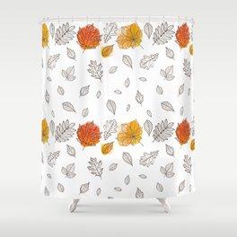 Fall orange gold hand drawn black white leaves Shower Curtain