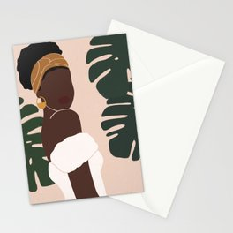 Black Woman Monstera leaves Tropical Stationery Cards