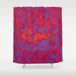 SIREN deep coral and periwinkle abstract flames Shower Curtain