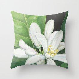 Watercolor Orange Blossom Throw Pillow