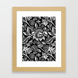 William Morris Sunflowers, Black and White with Gray Framed Art Print