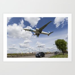 EgyptAir boeing 777  Landing at Heathrow Art Print