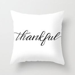 Thankful Calligraphy Throw Pillow