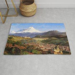 Louis Remy Mignot - View of Riobamba, Ecuador, Looking North Towards Mount Chimborazo Rug