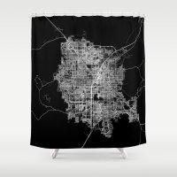 las vegas Shower Curtains featuring Las Vegas map by Line Line Lines