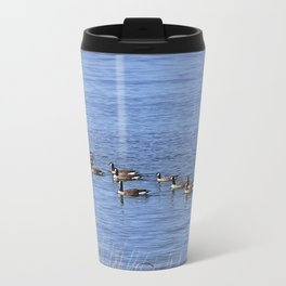 Canadian Geese Swimming Metal Travel Mug