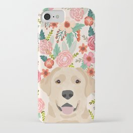 Labrador Retriever yellow lab floral pattern cute florals dog breed pure breed dog lover gifts iPhone Case