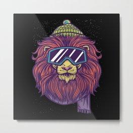 Lion ski goggles skiing ski gift Metal Print