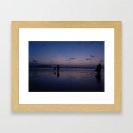 Beach Fishing at Dusk Framed Art Print