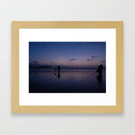 Beach Fishing at Dusk Framed Art Print