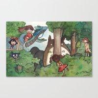 studio ghibli Canvas Prints featuring Studio Ghibli Crossover by malipi