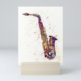 An abstract watercolor print of a Saxophone Mini Art Print