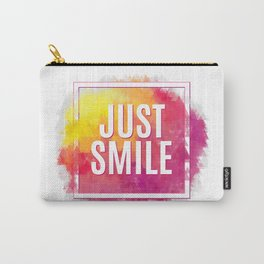 Just Smile motivation square watercolor stroke poster. Text lettering of an inspirational saying. Qu Carry-All Pouch
