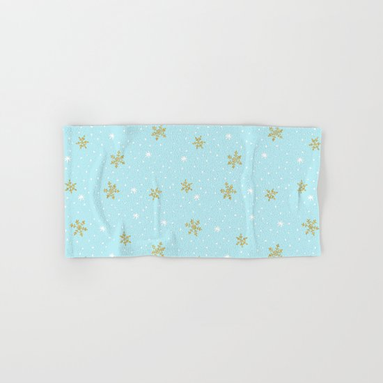 Merry christmas- abstract winter pattern with white & gold Snowflakes Hand & Bath Towel