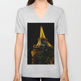 Eiffel Tower lit up at night, Paris Unisex V-Neck