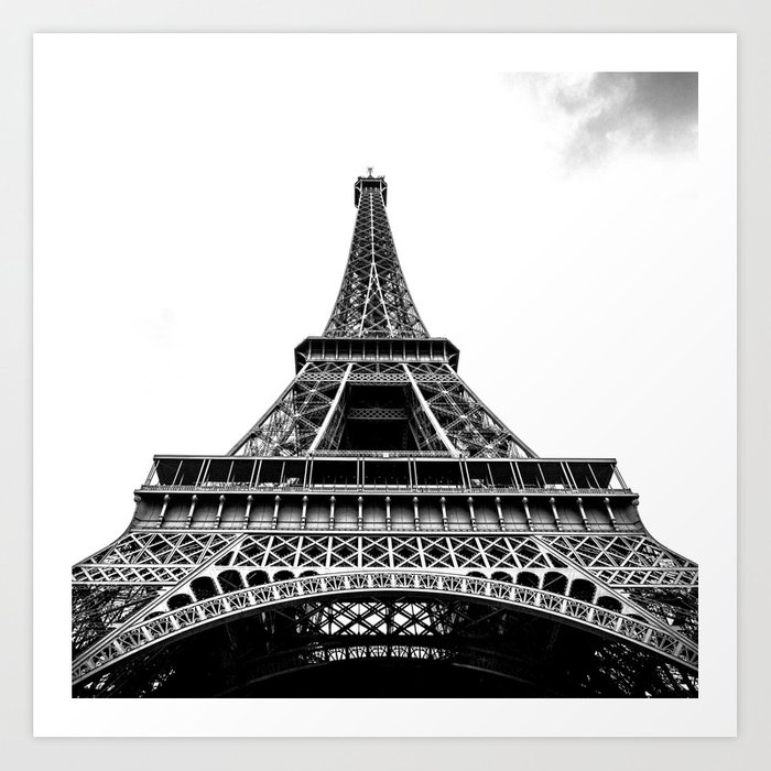 Eiffel Tower In Paris Black And White France Europe Art Print By Zado Society6
