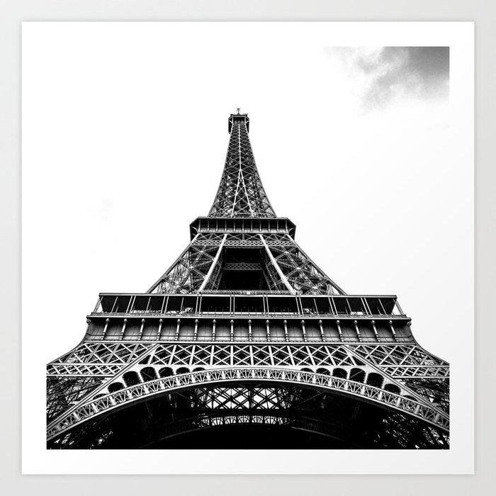 Eiffel Tower In Paris Black And White France Europe Art Print
