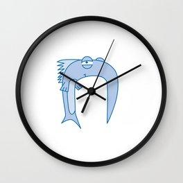 Lowercase n, no border Wall Clock