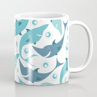 sharks Mugs featuring Sharks by Julia Badeeva