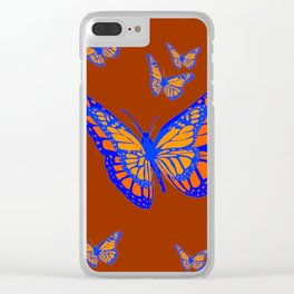 CHOCOLATE COLOR & BLUE-GOLD MONARCH BUTTERFLIES Clear iPhone Case