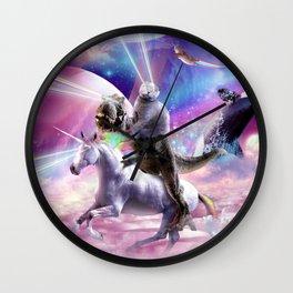 Laser Eyes Space Cat On Dinosaur Unicorn - Rainbow Wall Clock