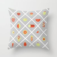 food Throw Pillows featuring food. by Monika Traikov