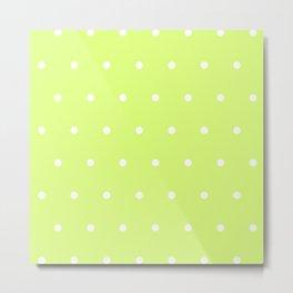 Big white polka dots pattern on light lime green background Metal Print