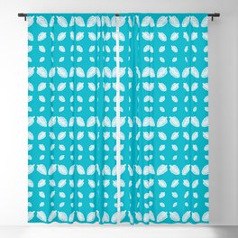 Blue Crenate Leaves Pattern Blackout Curtain