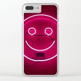 PINK SMILE NEON SIGN Clear iPhone Case