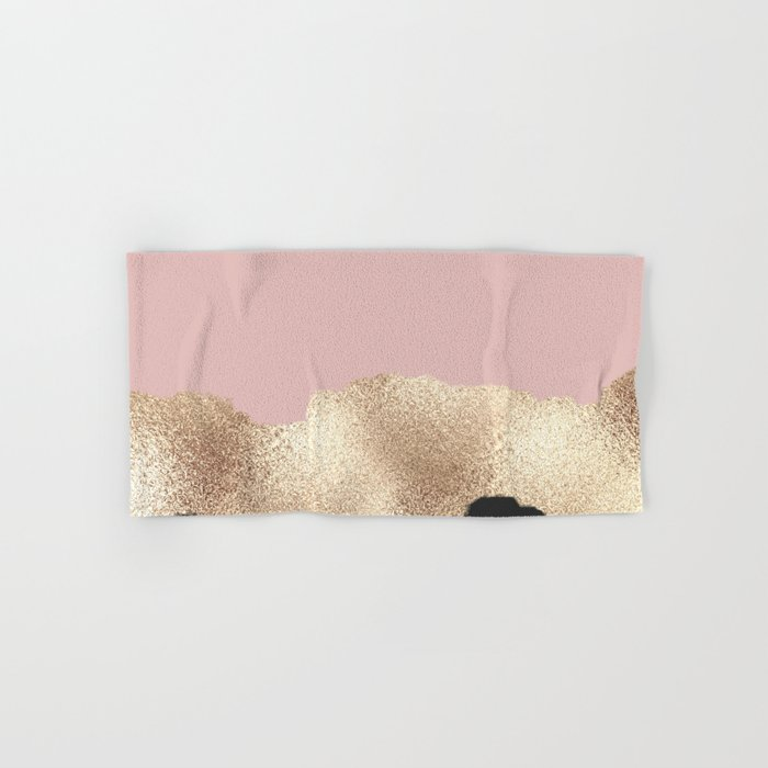 Rose Gold Glitter Black Pink Abstract Girly Art Hand & Bath Towel