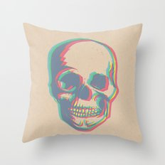 Skull - Woodprint Color Throw Pillow