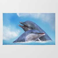 dolphins Area & Throw Rugs featuring Dolphins by Susann Mielke