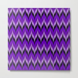 Bargello Pattern in Purple and Black Metal Print