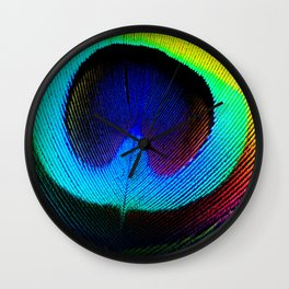 Colorfull Feather Peacock Wall Clock