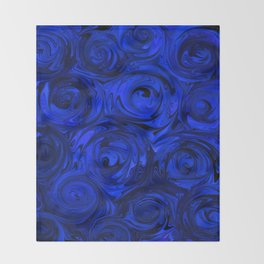 China Blue Rose Abstract Throw Blanket