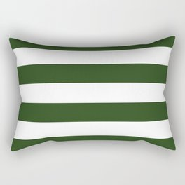 Large Dark Forest Green and White Cabana Tent Stripes Rectangular Pillow
