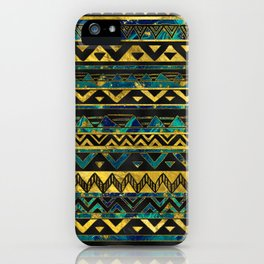 Gold and Teal Marble Tribal Boho Ethnic  Pattern iPhone Case