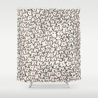 orange pattern Shower Curtains featuring A Lot of Cats by Kitten Rain