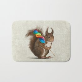 Squirrel with lollipop Bath Mat
