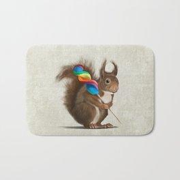 Squirrel with lollipop Bath Mat