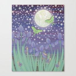 Moonlit stars, luna moths, snails, & irises Canvas Print