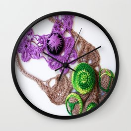 Lilac Lime Romanian Point  Lace Photography  Wall Clock