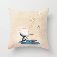fishing Throw Pillows featuring Fishing by Nonnetta