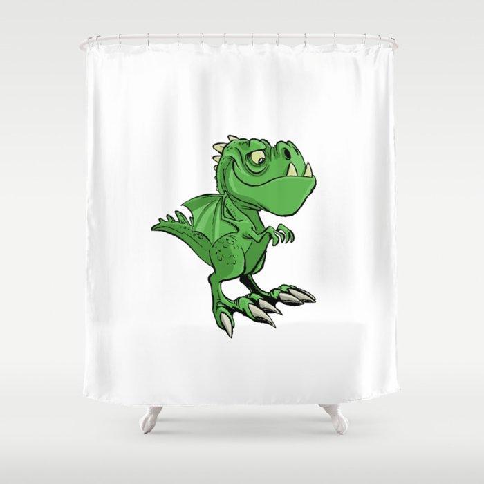 Cute Cartoon Dragon Shower Curtain